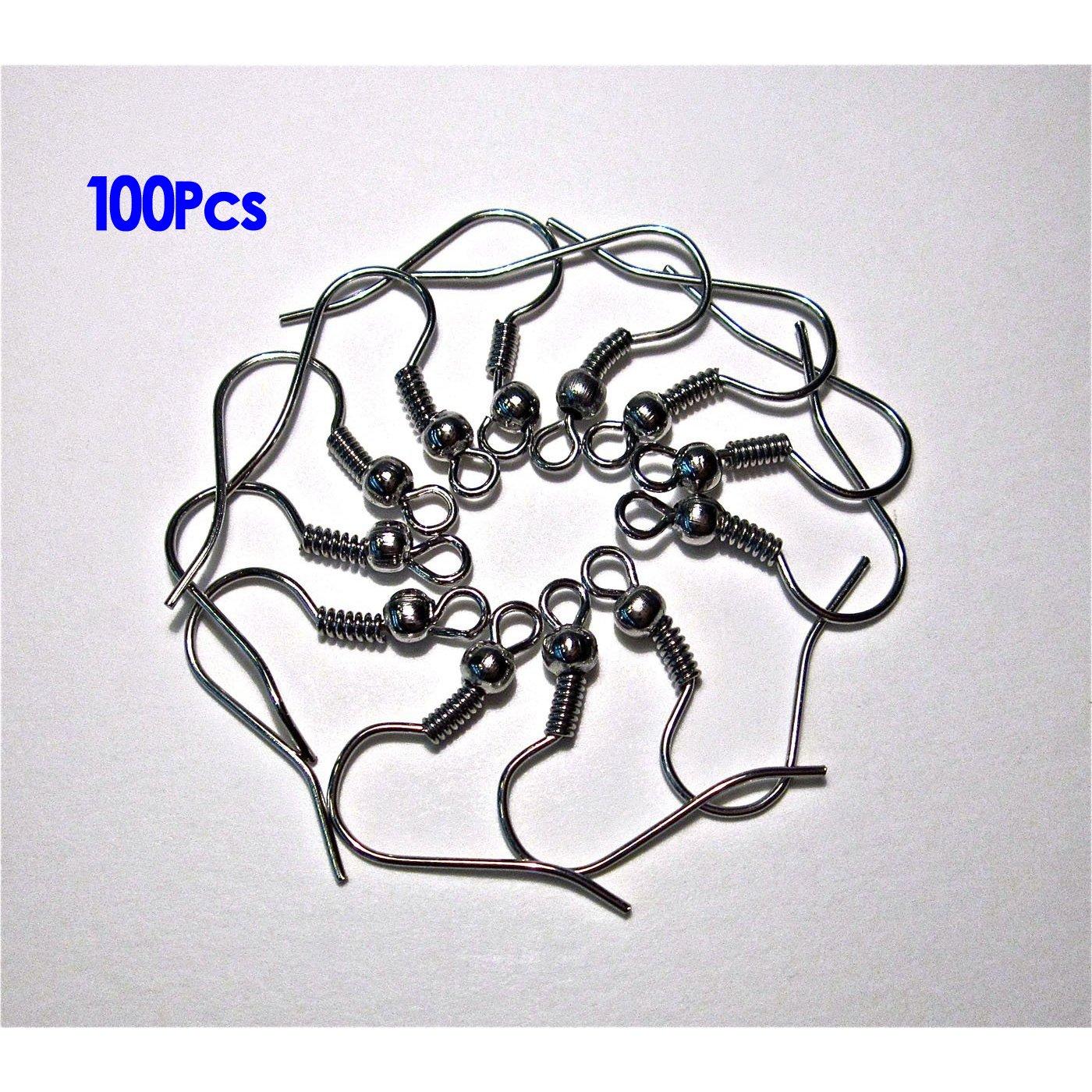 Gleader 100X Paar Ohrhaken Ohrfedern Silberfarbig 18x10mm neu