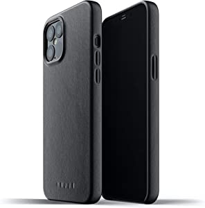 Mujjo Full Leather Case for iPhone 12 Pro Max | Premium Genuine Leather, Natural Aging Effect | Super Slim Fit Design, Wireless Charging (Black)