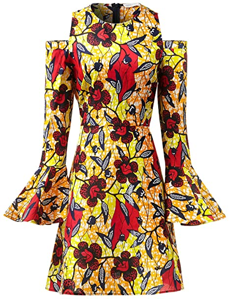 c12a7f281e641 Women African Print Maxi Long Dresses Winter Autumn Women Retro Long Sleeve  Floor Length Elegant Traditional Skater