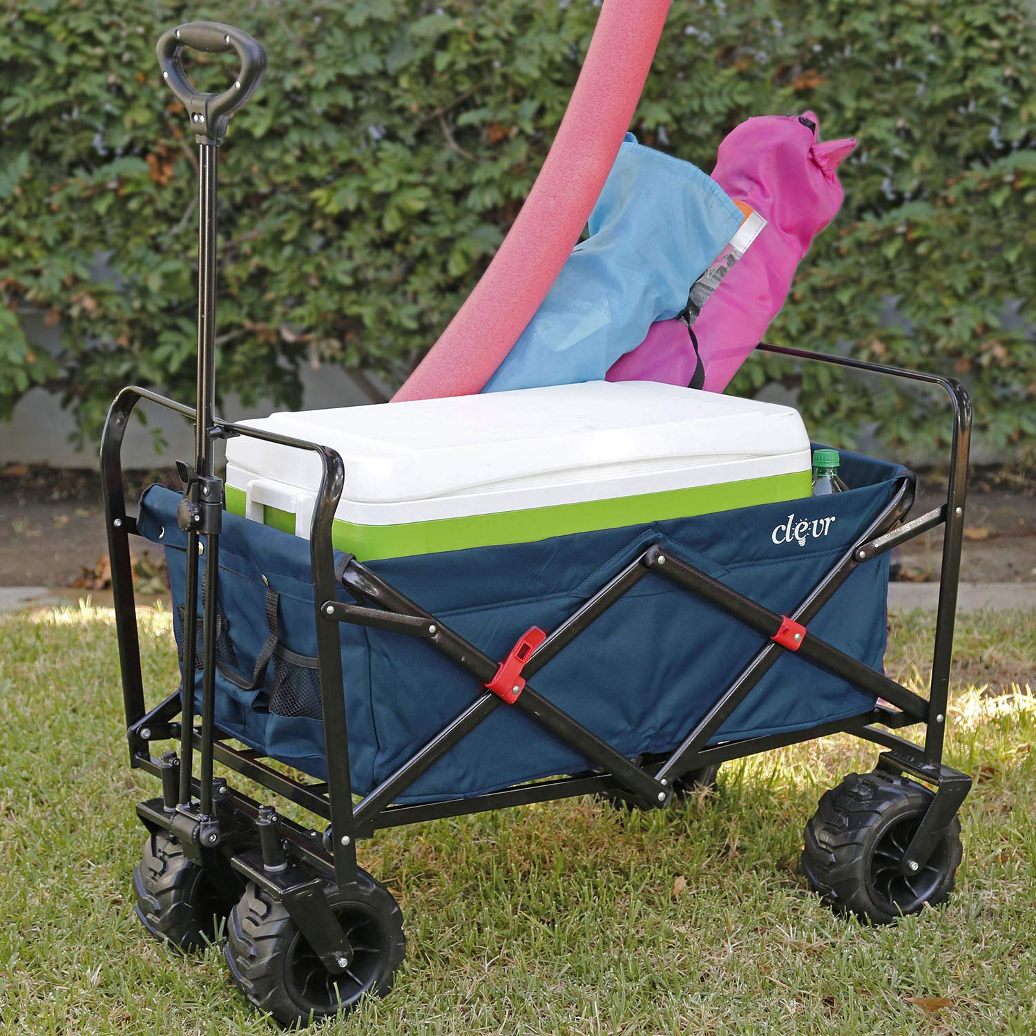 Clevr Collapsible Foldable Outdoor Wagon Cart with Large All Terrain Wheels, Blue 265 Lb Capacity, Easy Folding Utility Garden Transport Trolley, Great for Parties, Shopping, Beach, Park, Sports by Clevr