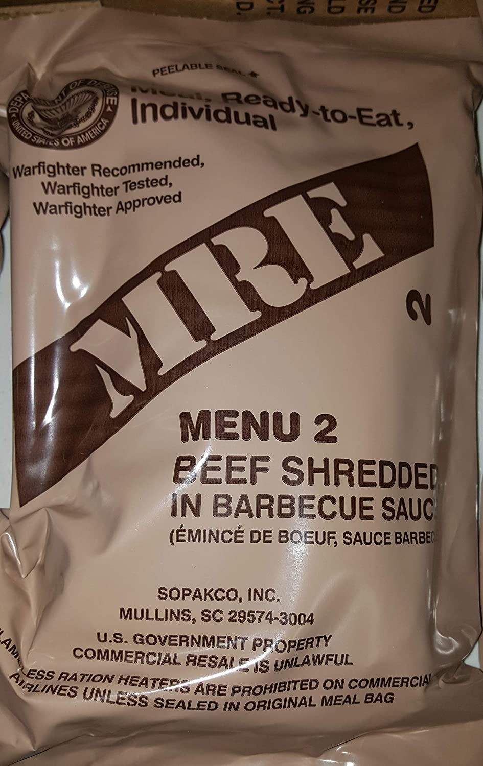 2021 Genuine Military MRE Meals Ready to Eat with Inspection Date 2021 or Newer (Beef Shredded in Barbecue Sauce)