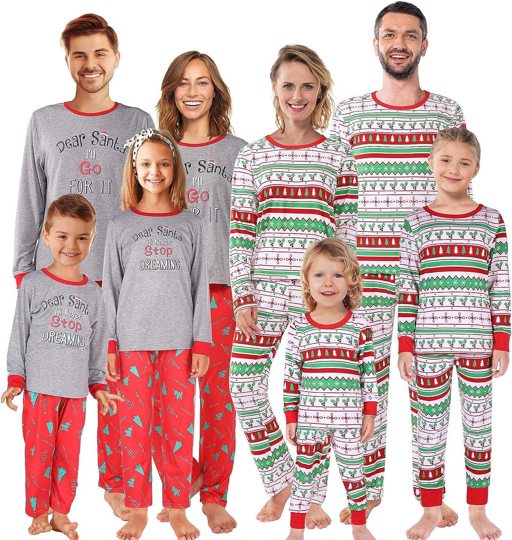 Shangood Christmas Family Matching Pajamas Set Striped Xmas Pjs Clothes,Holiday Tops and Pants Sleepwear for dad,Mom,Kids Men L