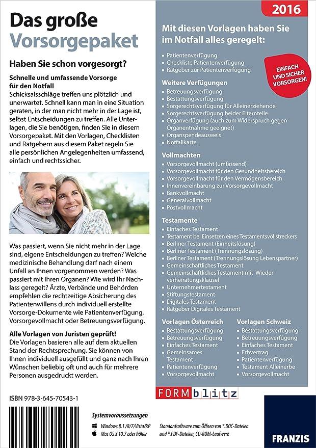 Das große Vorsorgepaket 2016: Formblitz: Amazon.de: Software