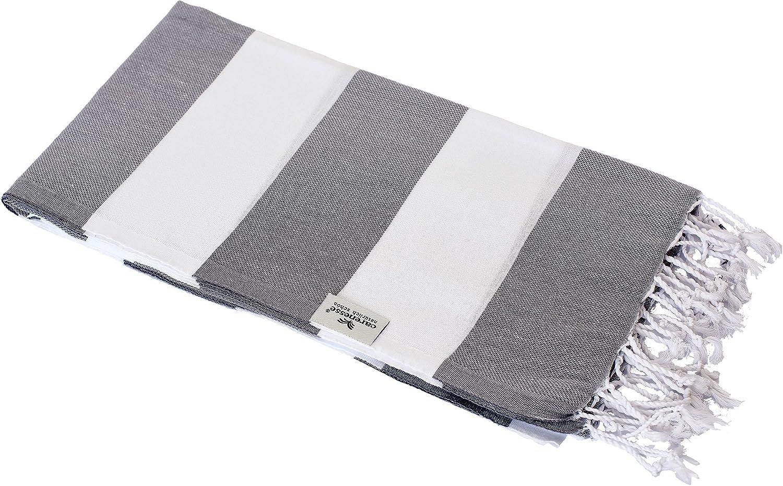 Clair et /él/égant Serviette de Bain 100/% Coton Carenesse Serviette de Hammam Tommy Gri Blanc ray/é 100 x 180 cm fouta Serviette de Plage Serviette de Sauna Serviette Turque