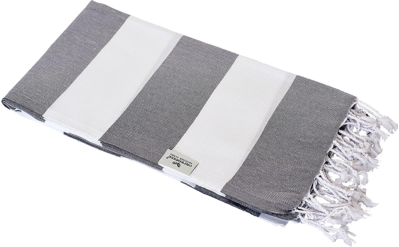 Strand Tuch Hamam Tuch 100/%Hochwertige Baumwolle 90x170 cm Weiss //Grau Fransen