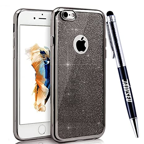 Funda iPhone 6S, Carcasa Caso iPhone 6, JAWSEU Apple iPhone 6/6S 4.7 Carcasa Caso Cover Purpurina llamativa Brillo Lujo Moda Ultra Delgado Silicona ...