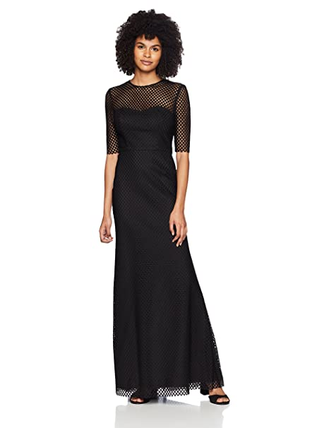 Vera Wang Womens Elbow Sleeve Graphic Lace With Illusion Neckline