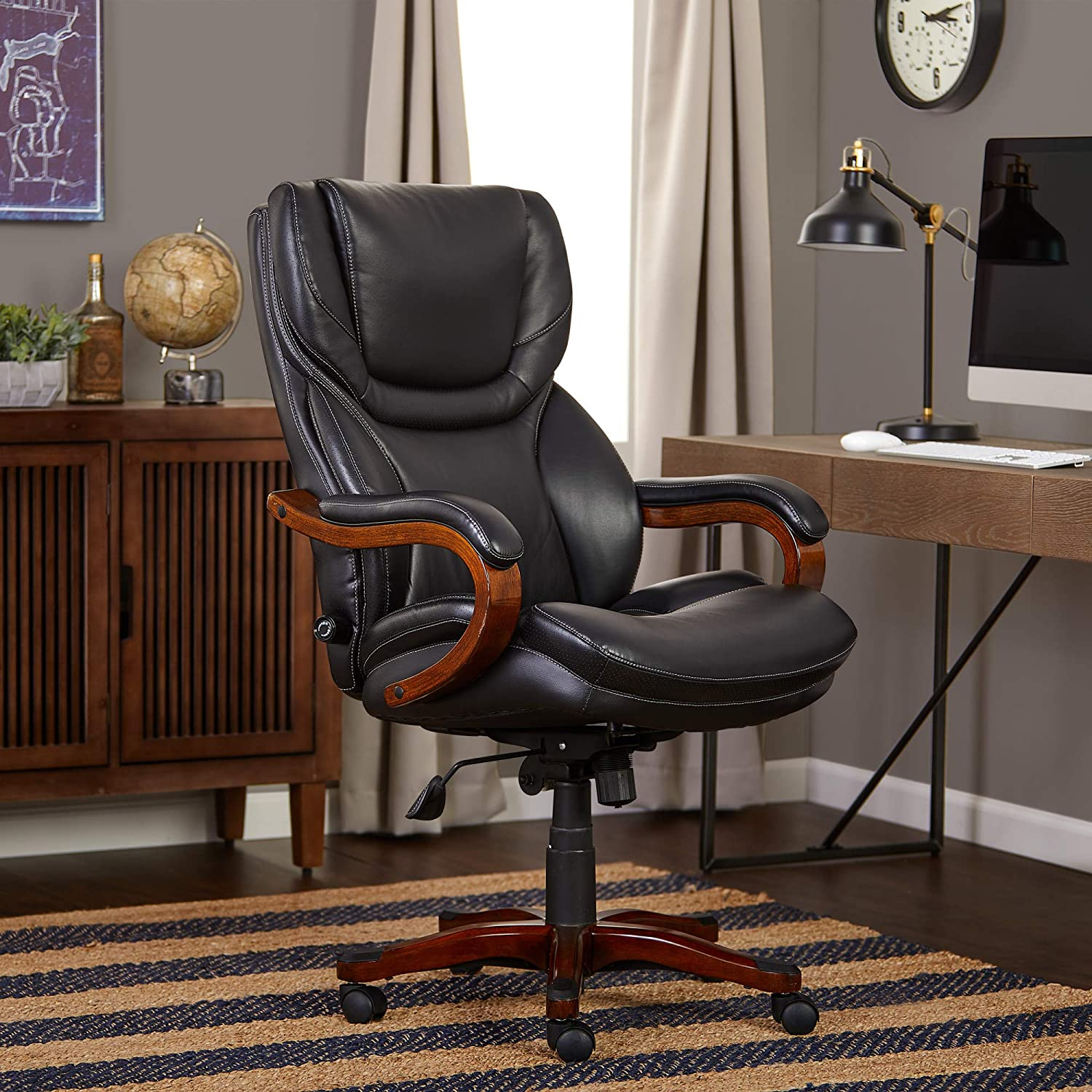 Serta Bonded Leather Big Tall Executive Chair, Brainstorm Black, 46859