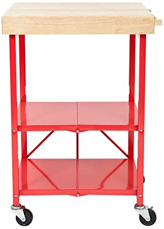 Origami RBT 06 Foldable Kitchen Island Cart, Red