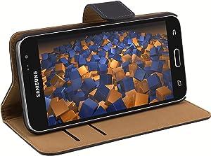 mumbi Bolso de Cuero Genuino Estilo de Libro Compatible con Samsung Galaxy J3 (2016), Negro