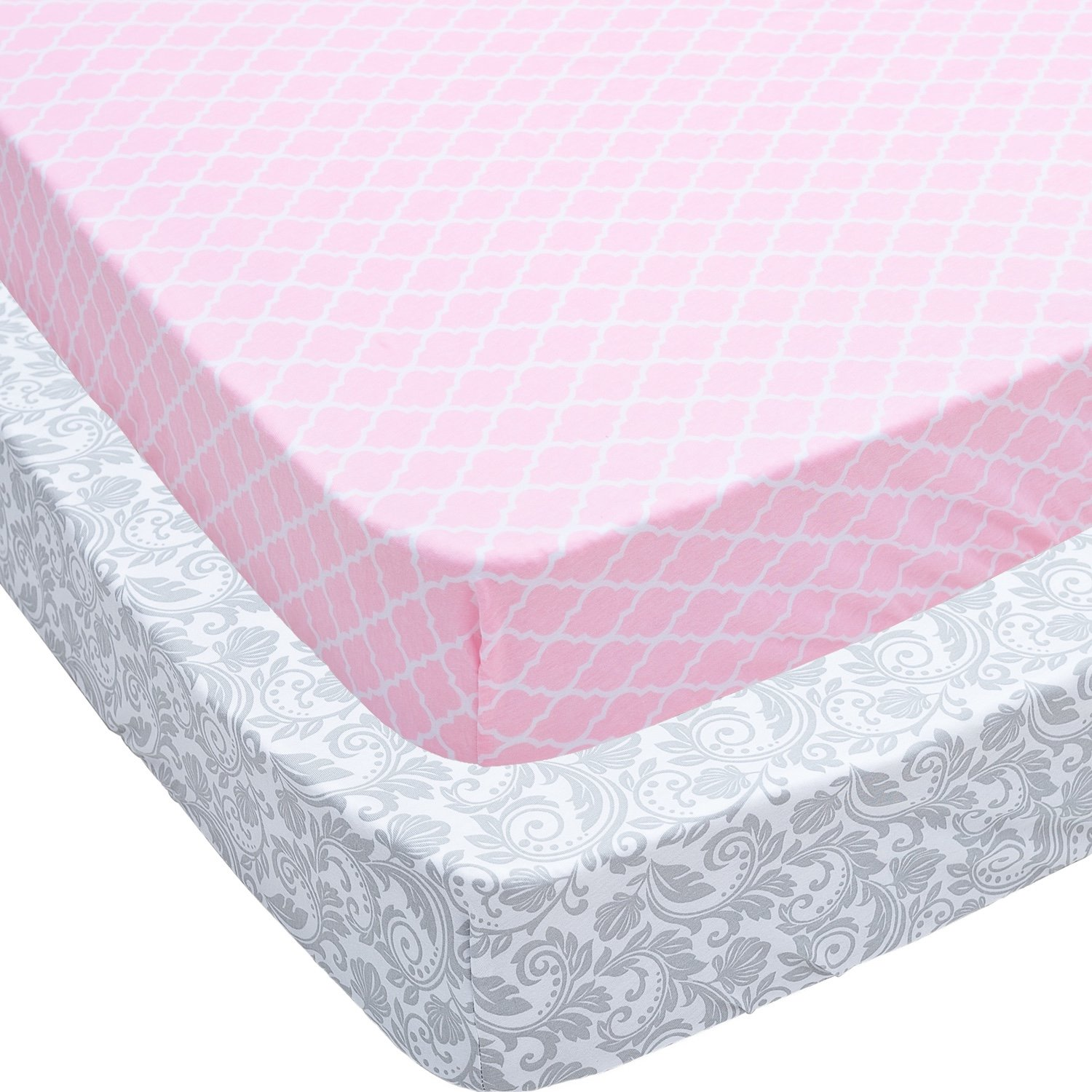 Crib Sheets, 2 Pack Pink Quatrefoil & Floral Fitted Soft Jersey Cotton Cover by Jomolly