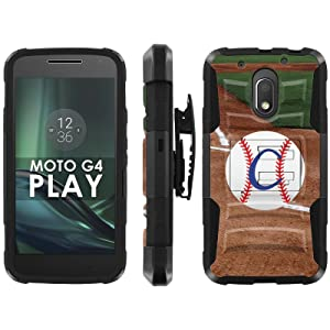Motorola Moto G Play [4th GEN] Phone Cover, Baseball Monogram C- Black Blitz Hybrid Armor Phone Case for [Motorola Moto G Play [4th GEN]] with [Kickstand and Holster]