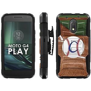 Motorola Moto G Play [4th GEN] Phone Cover, Baseball Monogram C- Black Blitz Hybrid Armor Phone Case for [Motorola Moto G Play [4th GEN]] with [Kickstand and Holster]