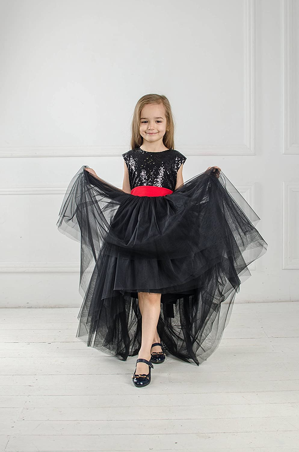 Amazon.com  Black pageant dress Black sequin tutu Flower girl dress baby girl  dress with red bow Princess dress Tulle girls high low dress  Handmade 8e025097b63c