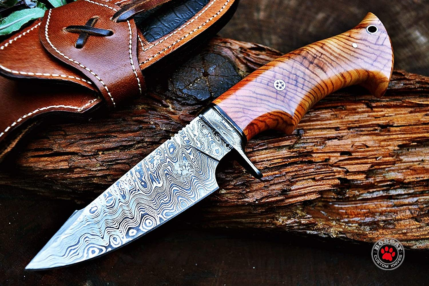 Bobcat Knives Custom Handmade Hunting Knife Damascus Steel Blade Olive Wood Handle 10 Overall