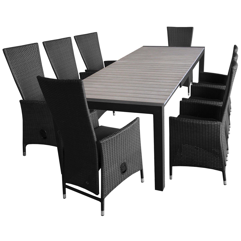 9tlg. Gartengarnitur Ausziehtisch 205/275x100cm + 8x Polyrattan Sessel inkl. Kissen, Lehne stufenlos verstellbar, Sitzgruppe Sitzgarnitur