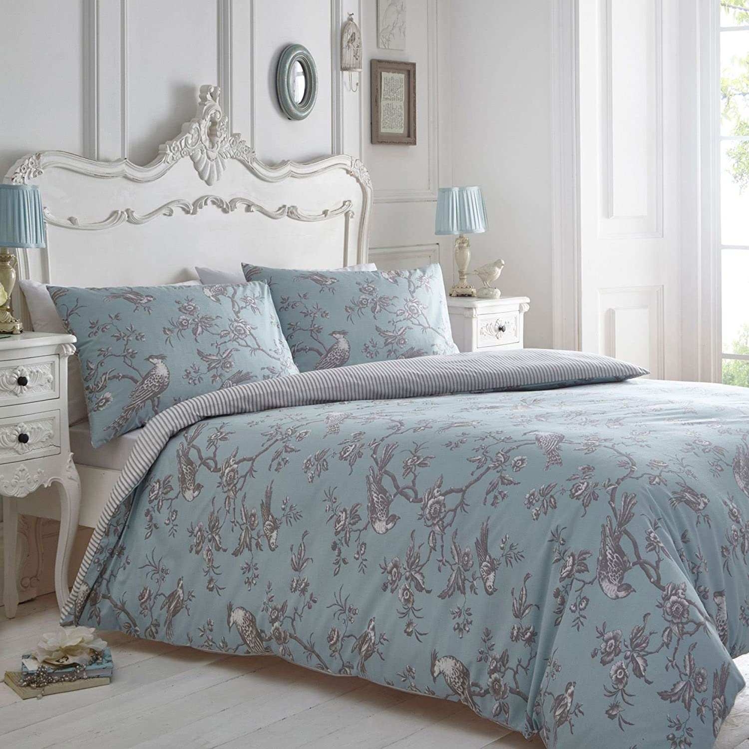Debenhams Home Blue and grey 'Curious Bird' bedding set double Home Collection