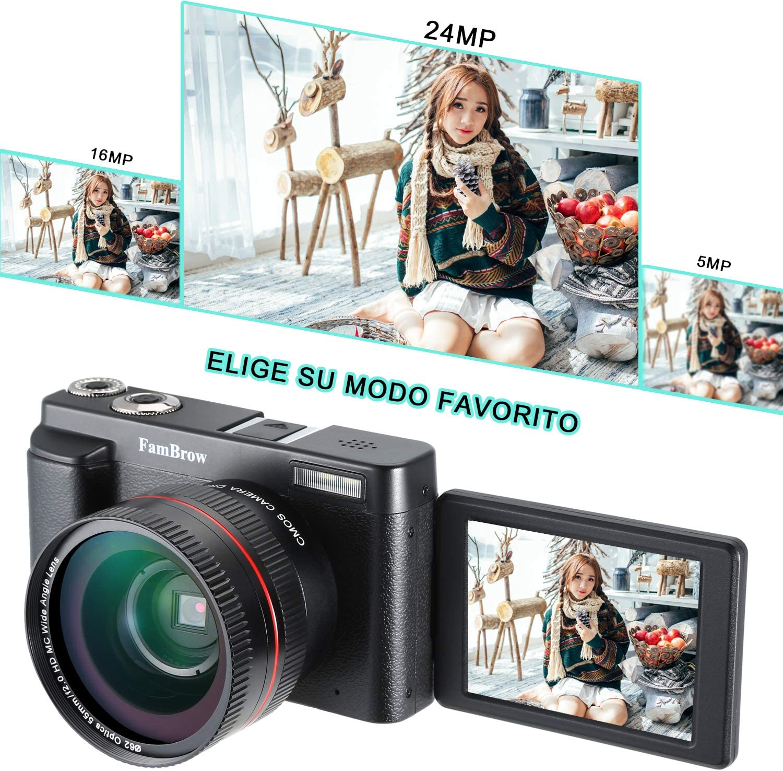 Camara de Fotos Full HD 1080P,FamBrow WiFi 24MP Camara de Video ...