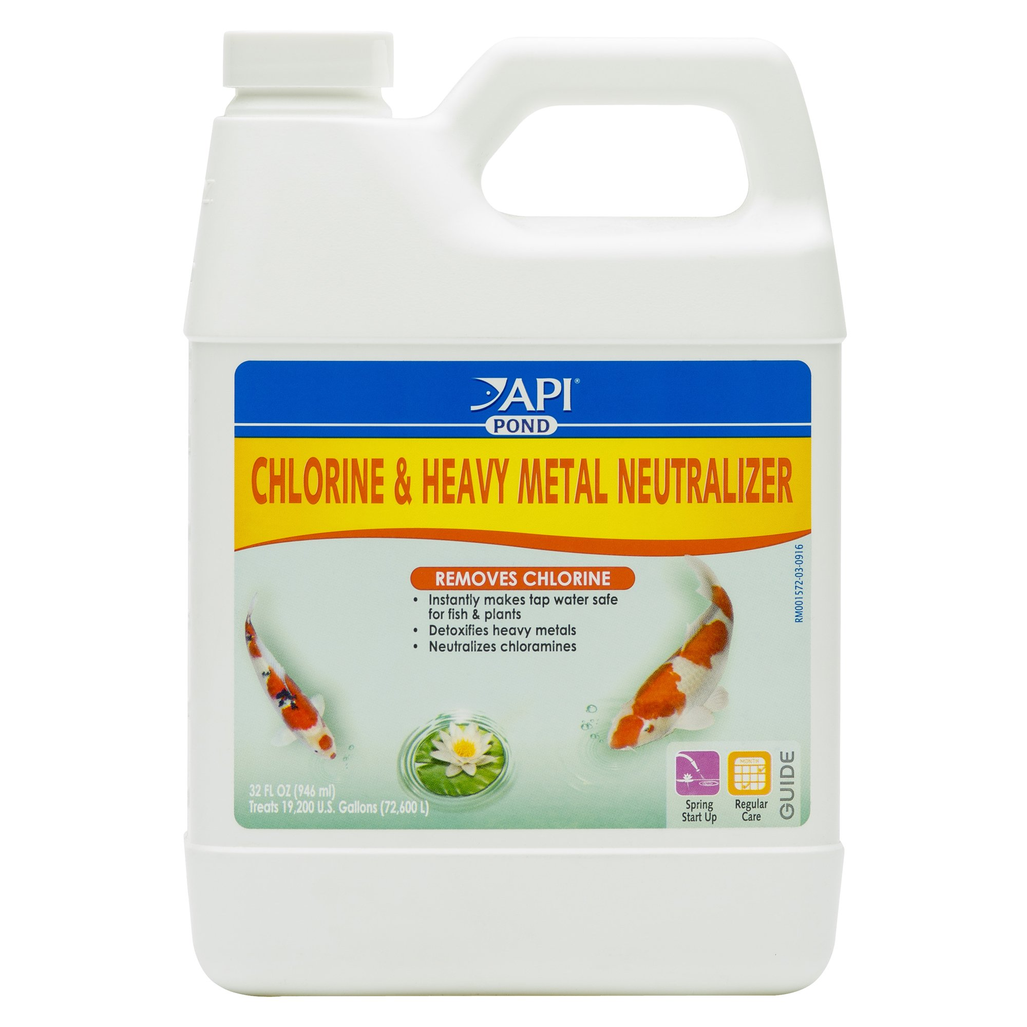 API POND CHLORINE & HEAVY METAL NEUTRALIZER Pond Water Neutralizer 32-Ounce Bottle by API