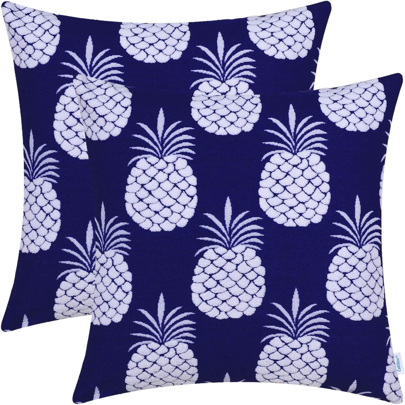 CaliTime Pack of 2 Supersoft Throw Pillow Covers Cases for Couch Sofa Bed Bedding Fluffy White Pineapple Fruit 18 X 18 Inches Navy Blue