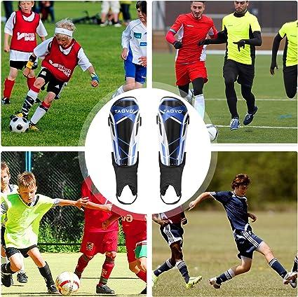 Filles de Gar/çons Equipement de Football Protecteur Enfants Adultes TAGVO Prot/ège-Tibias de Football Femmes Tailles de Jeunes Protections de Tibia de Football Enfant pour Hommes