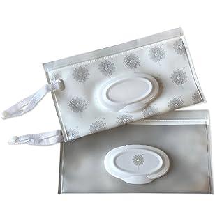 Premium Wipe Dispenser Set - Reusable Gender Neutral Baby WetWipe Travel Cases in Light Grey &