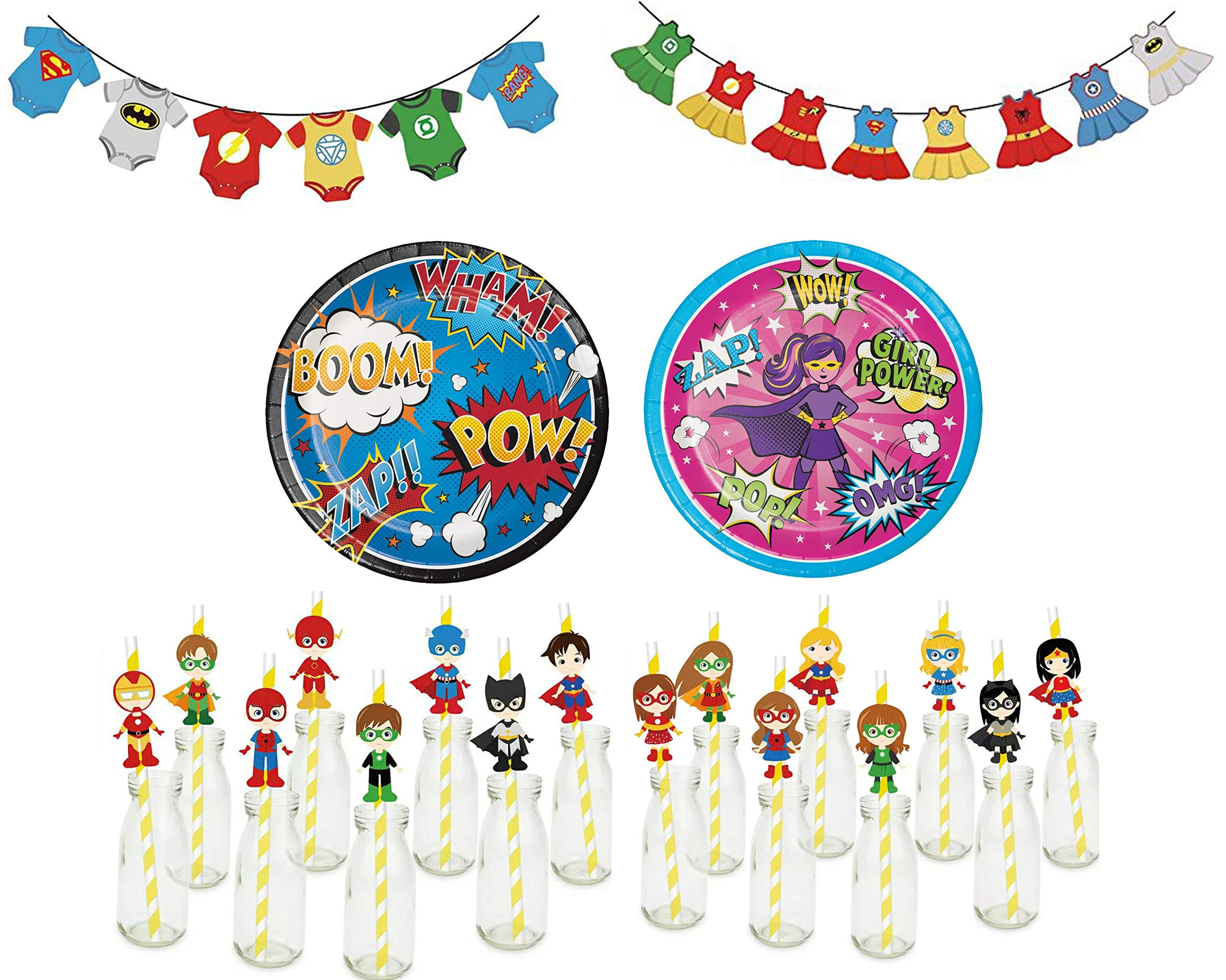 Superhero Gender Reveal Party Supplies Kit-16 Guests Party Banners, Plates, Napkins, Comic Book Inspired Straws, Blue and Pink Cups,Gold Silverware