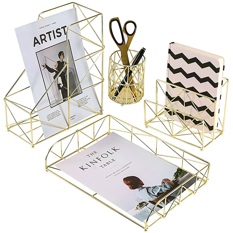 Simmer Stone Desk Organizer Set, 4 in 1 Decorative Desk Accessories Organizer, Letter Sorter, File Holder, Desk Tray and Pen Holder, Gold