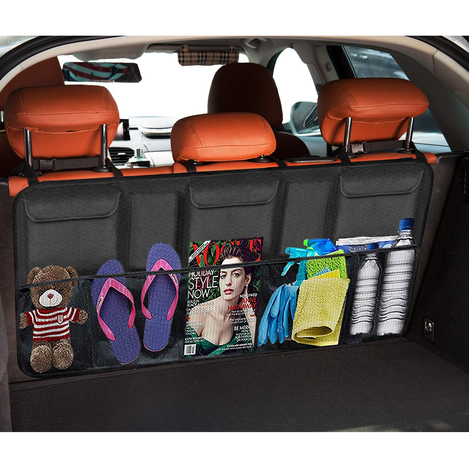 SUV Car Backseat Trunk Organizer Van Organizers Back Seat Mesh Pockets 42 x 22-inch Auto Back Seat Trunk Storage Organizers for Truck