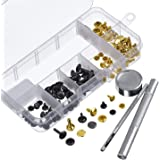Outus 60 Set Rivets Double Cap Rivet Tubular Metal Studs with Fixing Tool Kit for Leather Craft Repairs Decoration, 3 Sizes