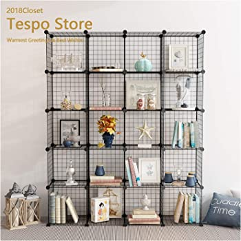 Tespo Wire Storage Cubes Modular Shelving Unit DIY Metal Grid Closet  Organizer System, Bookcase, Cabinet (20Cubes)