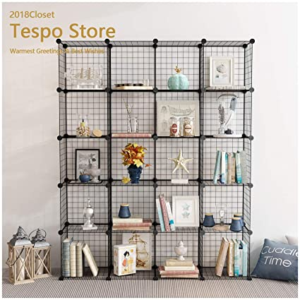 Tespo Wire Storage Cubes Modular Shelving Unit DIY Metal Grid Closet  Organizer System, Bookcase,