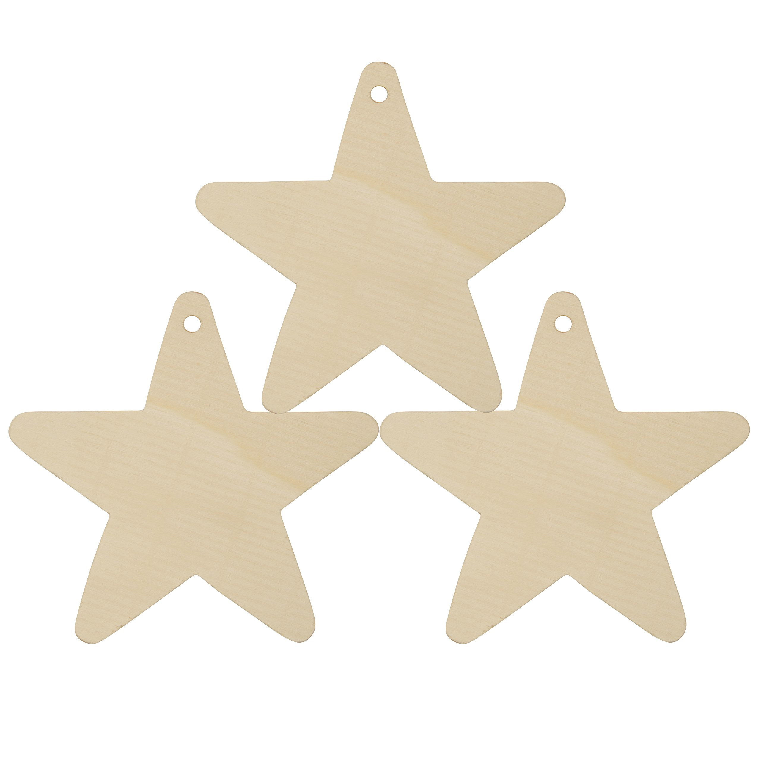Wooden Star Christmas Tree Ornaments Unfinished - Package of 250- Ready To Be Painted And Decorated - By Woodpeckers