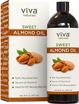 Viva Naturals Almond Oil (16 Oz) - Sweet Almond Oil for Skin or Almond Oil for Hair, The Perfect Natural Body Oil for Women, Great as Unscented Massage Oil, 16 Fl Oz