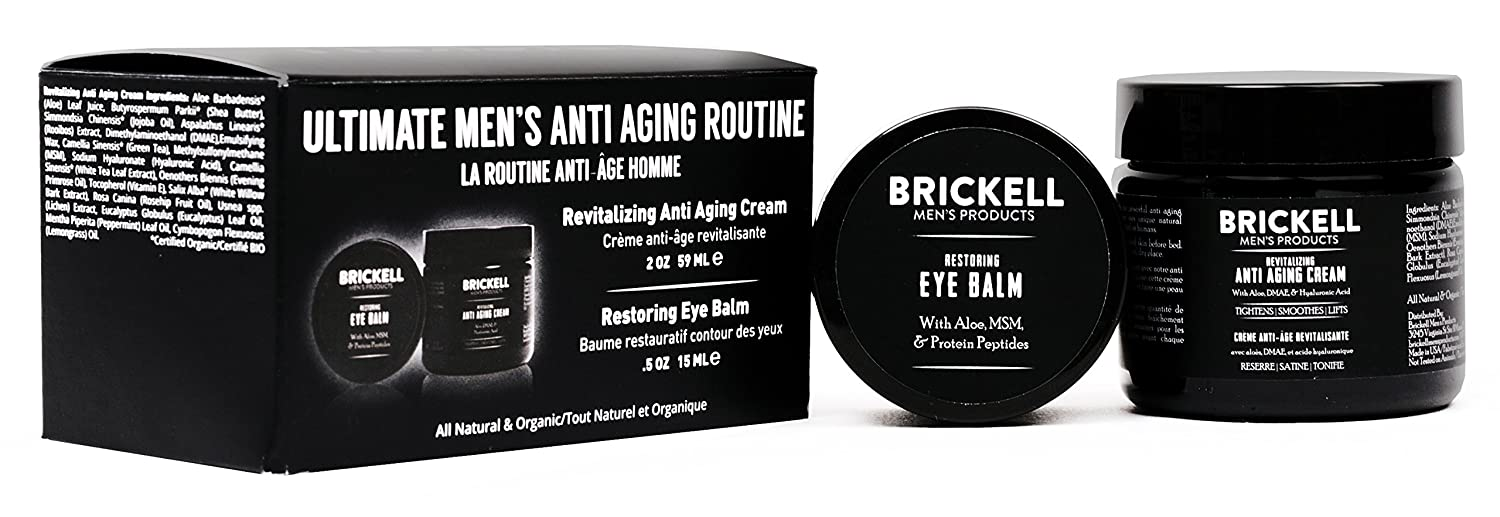 Brickell Men's Ultimate Anti-Aging Routine - Anti-Wrinkle Night Face Cream and Eye Cream to Reduce Puffiness, Wrinkles, Dark Circles, Under Eye Bags - Natural & Organic (Scented) Brickell Men's Products