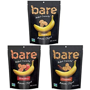 Bare Baked Crunchy Banana Chips, Variety Pack, Gluten Free, 2.7 Ounce Bag, 6 Count