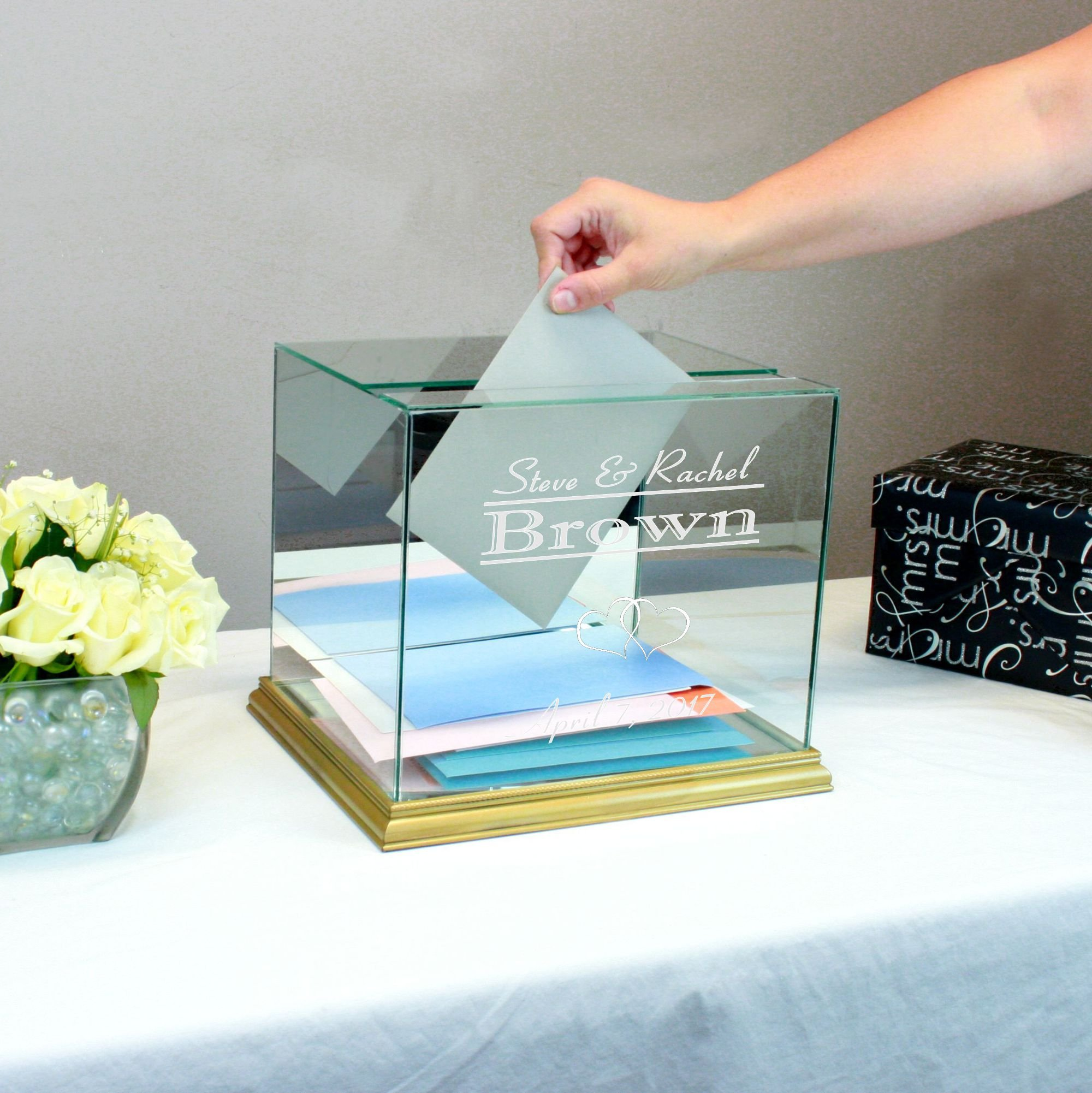 Personalized Glass Rectangle Wedding Card Box Gold