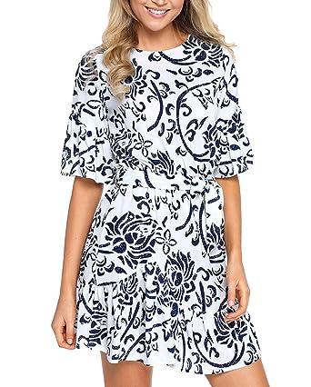 22a39dabec ZKESS Women s Comfy Short Sleeve Floral Print Knee Length Chiffon Dresses L  Size Light Blue at Amazon Women s Clothing store