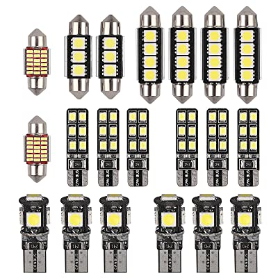 Justech 20PCs Can-bus Error Free LED SMD Bulbs Kit Set Spare Parts for Car Interior Dome Map Door Courtesy License Plate Lights Festoon C5W T10 168 194 2825 Xenon-White: Automotive