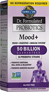 Garden of Life Dr. Formulated Probiotics Mood+ - Acidophilus Probiotic Supplement - Promotes Emotional Health, Relaxation, Digestive Balance, Gluten Free - 60 Vegetarian Capsules *Packaging May Vary*