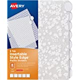 """AVERY Style Edge Insertable Floral Fashion Plastic Dividers, 8-Set, 1 Set (11291), Assorted Colors, 2.125""""x45.625""""x13.5625"""""""