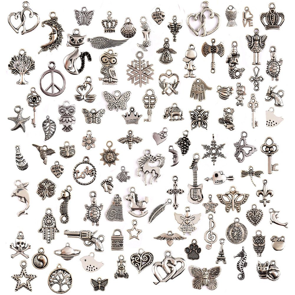 100Pcs Charms for Jewellery Making,Crafting,Tibetan Silver Mixed Pendants DIY for Earrings Necklace,Bracelets,Party and Wedding Favours Vibonsin