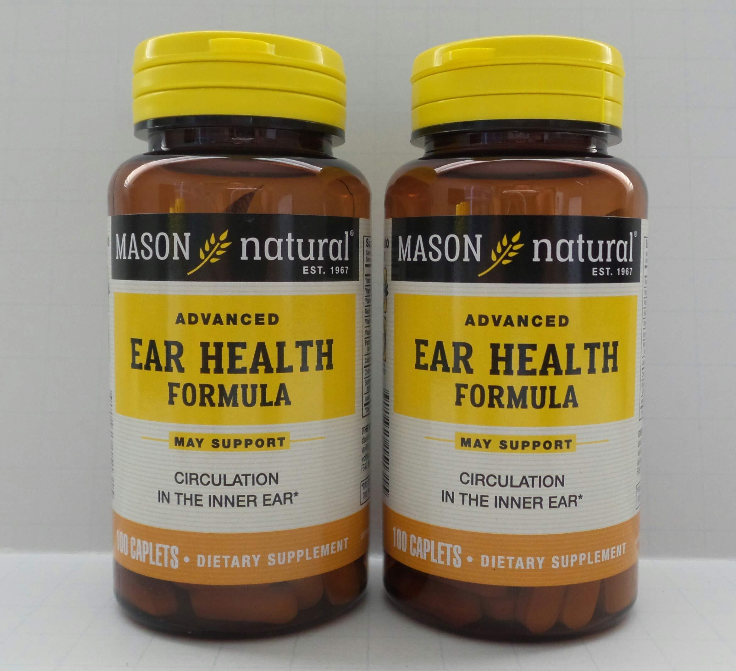 Mason Natural Advance Ear Health Formula Bioflavonoids Plus 100 Caplets per Bottle Pack of 2 Total 200 Caplets