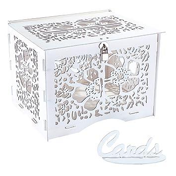 Amazon.com: Artmag - Hucha de madera rústica para boda, con ...