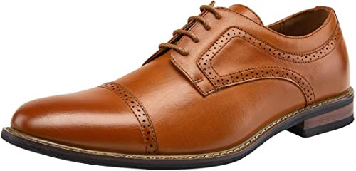 JOUSEN Men's Oxford Plain Toe Brogue Formal Dress Shoes