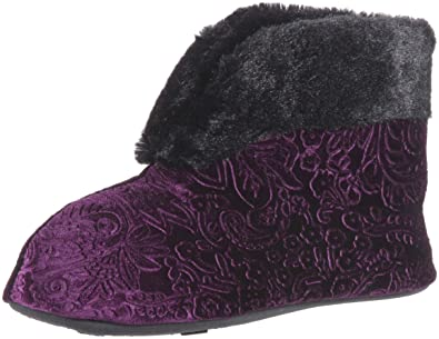54f5600ee83f Dearfoams Women s Embossed Velour Bootie Slipper Aubergine M Regular US