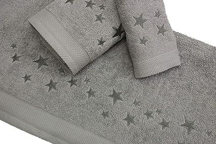 Montse Interiors Juego de Toallas Bordadas Estrellas 3 Piezas 550gr (Gris Big Stars Nº14)