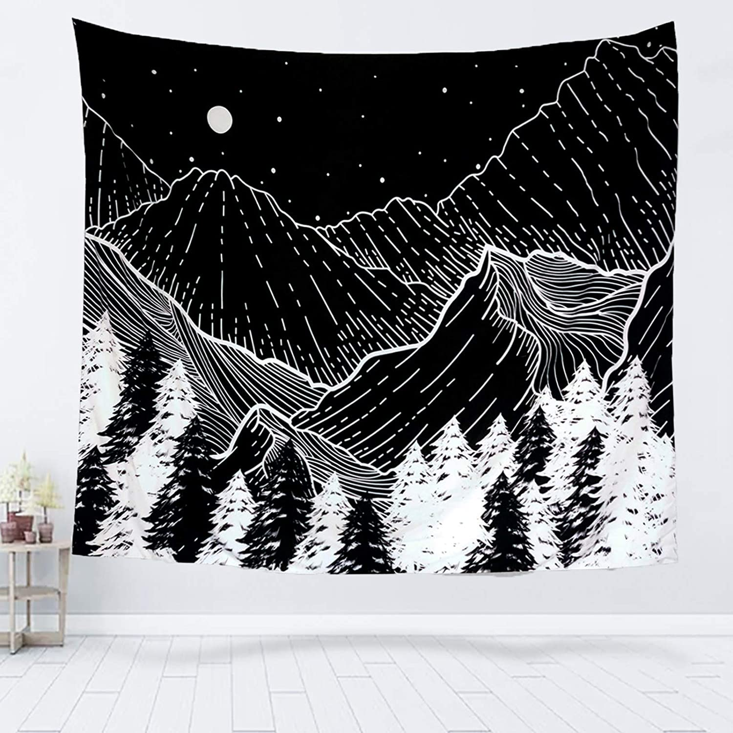 """Moon and Star Tapestry Forest Tree Tapestry Starry 51.2/"""" x 59.1/"""" Black White"""