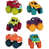 Battat Mini Monster Trucks – Set of 6 Mini Trucks for Toddlers in Storage Bag for 2 years +