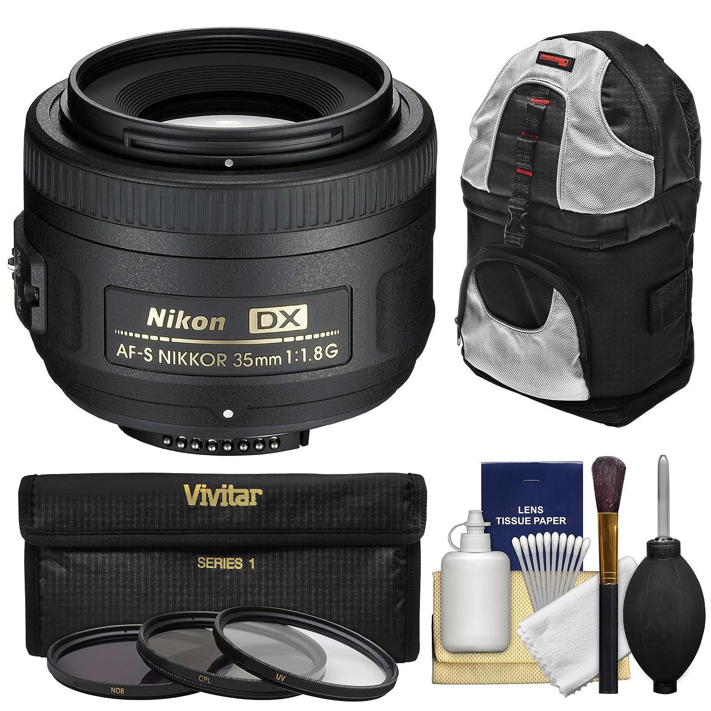 Nikon 35 mm f / 1.8 G DX af-s Nikkorレンズwith 3フィルタ+スリングバックパック+キットfor d3200、d3300、d5300 , d5500、d7100、d7200カメラ   B00LWD69NG